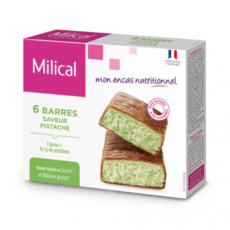 Barre HP Chocolat Pistache - étui 6 barres MILICAL