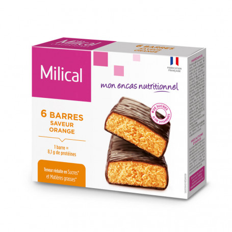 Barre HP Chocolat Orange - étui 6 barres MILICAL