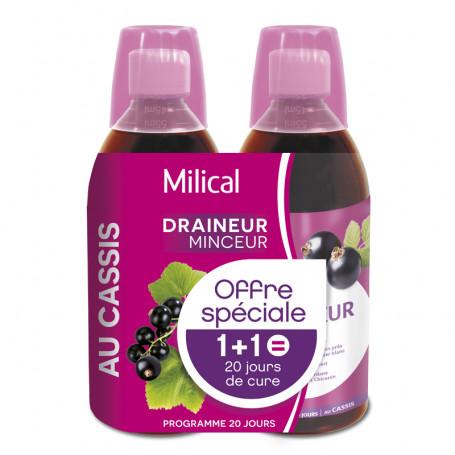 Draineur Minceur Ultra goût Cassis 2x500ml MILICAL