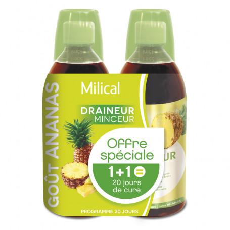 Draineur Minceur Ultra goût Ananas 2x500ml MILICAL