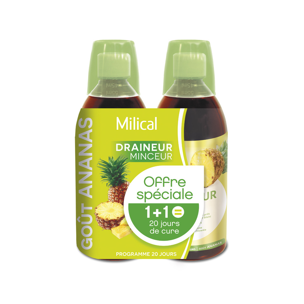 Milical Draineur minceur ultra goût ananas lot de 2